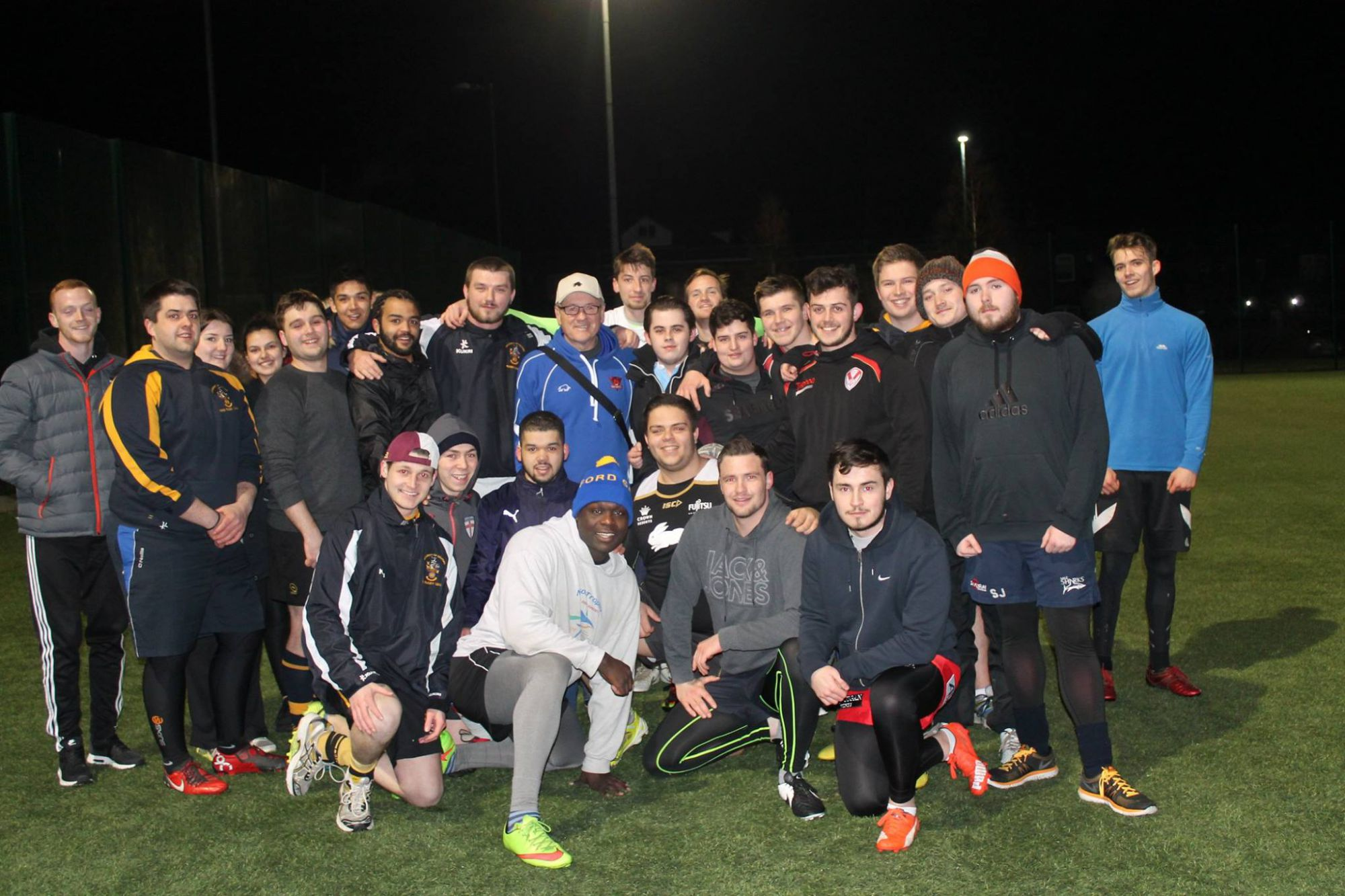 Tim Sheens with the Salford University squad